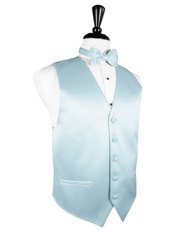 Light Blue Luxury Satin Tuxedo Vest