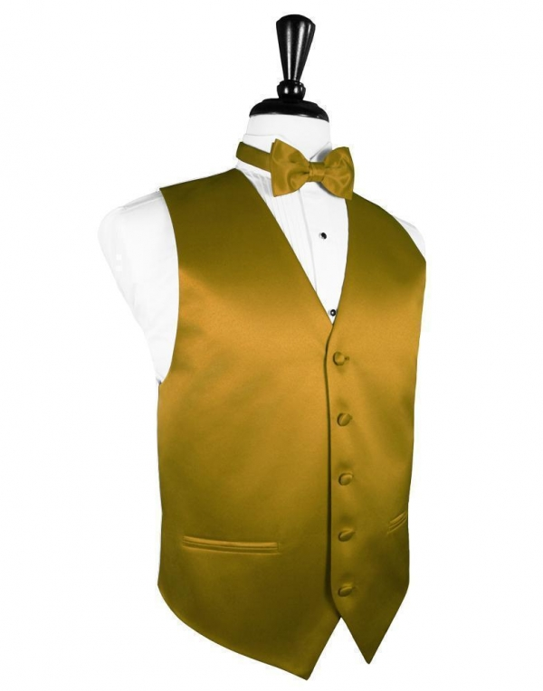 New Gold Luxury Satin Tuxedo Vest